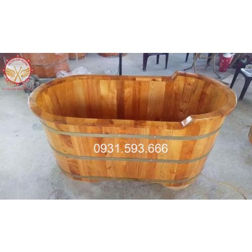 Bồn tắm gỗ thuốc Pơmu cao cấp BTG02 | Trống Cổ Truyền Chí Mạnh