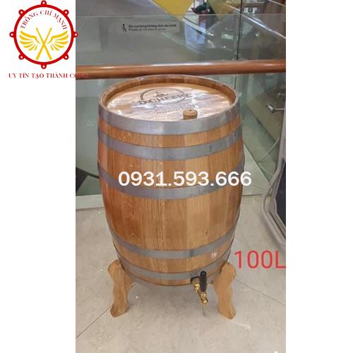 Trống Cổ truyền Chí Mạnh | Thùng rượu gỗ sồi cao cấp 100L TRG06