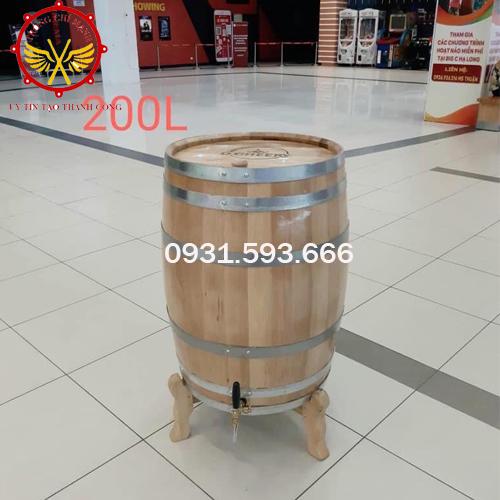 Thùng rượu gỗ sồi 200 Lít dáng đứng TRG05