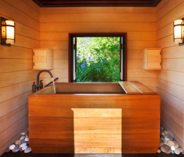 Bồn tắm gỗ vuông góc