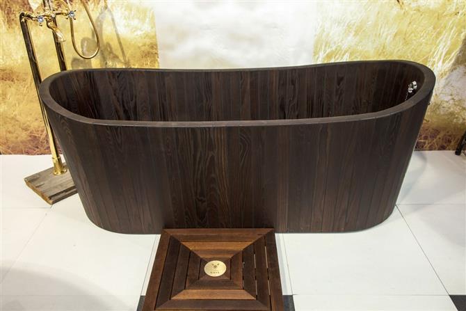 Bồn tắm gỗ oval dài