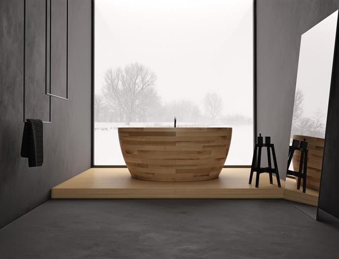 Bồn tắm gỗ bầu dục