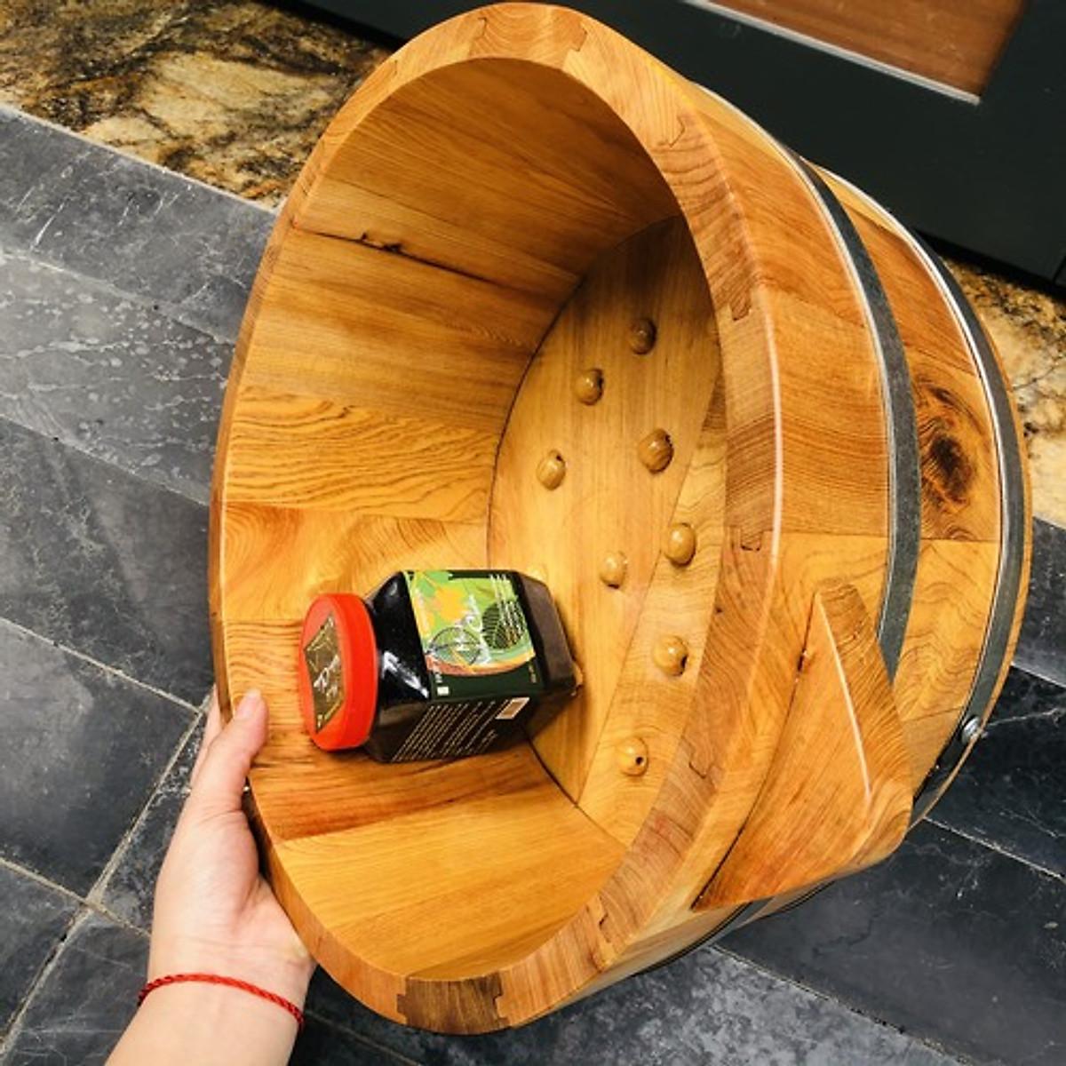 Chậu ngâm chân gỗ pơmu hạt gỗ massage