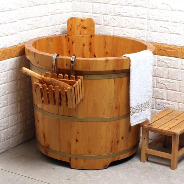 Chậu tắm gỗ tròn