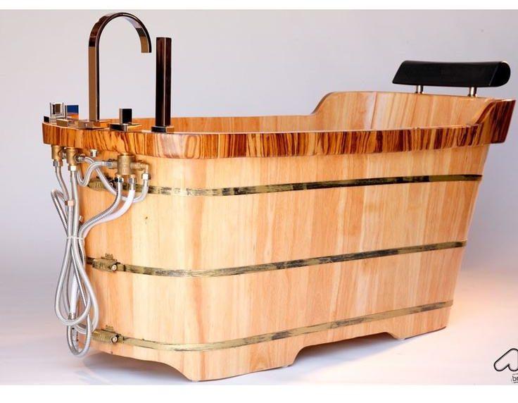 Bồn tắm gỗ nằm có tựa đầu