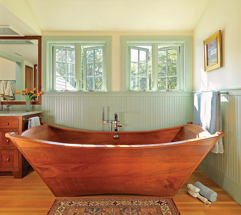 Bồn tắm gỗ hình con thuyền dành cho không gian rộng