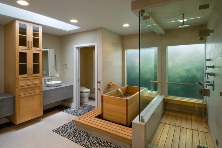 Bồn tắm bằng gỗ kiểu Nhật