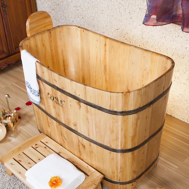 Bồn tắm gỗ dáng đứng hình chữ nhật