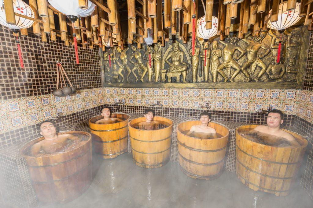 Bồn ngâm thảo dược bằng gỗ