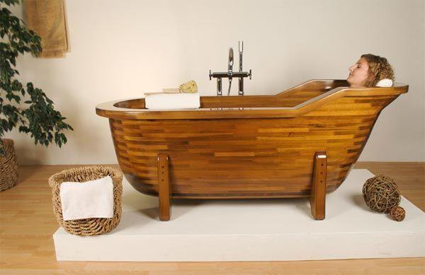 sử dụng bồn tắm gỗ
