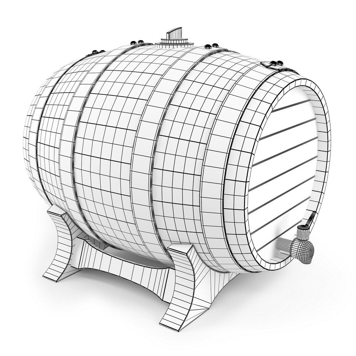 Bản vẽ 3D của thùng rượu gỗ sồi
