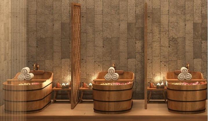 Bồn tắm nằm bằng gỗ