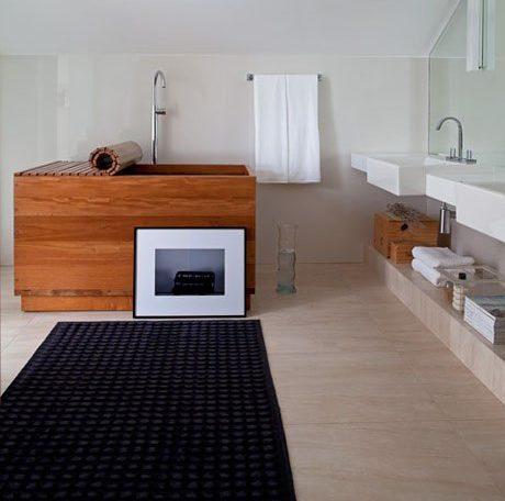 Bồn tắm thùng gỗ hình chữ nhật