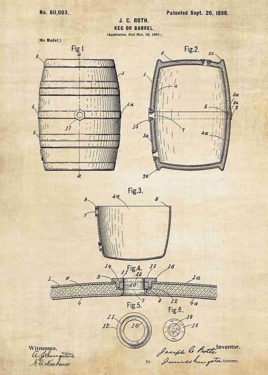 Bản vẽ tay thùng gỗ sồi đựng rượu ngày xưa
