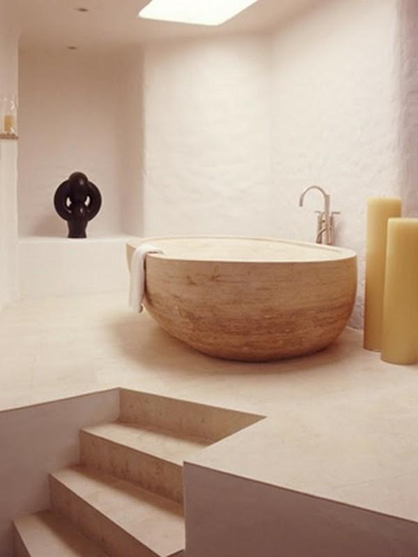 Bồn tắm bằng gỗ trong thiết kế phòng tắm
