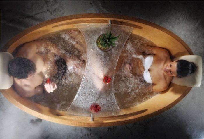 Bồn tắm gỗ sục massage cho 2 người