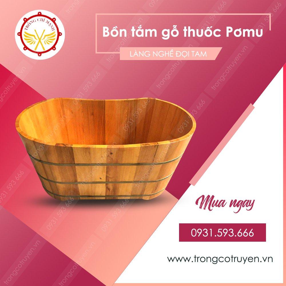 Trống cổ truyền | Bồn tắm gỗ thuốc Pơmu