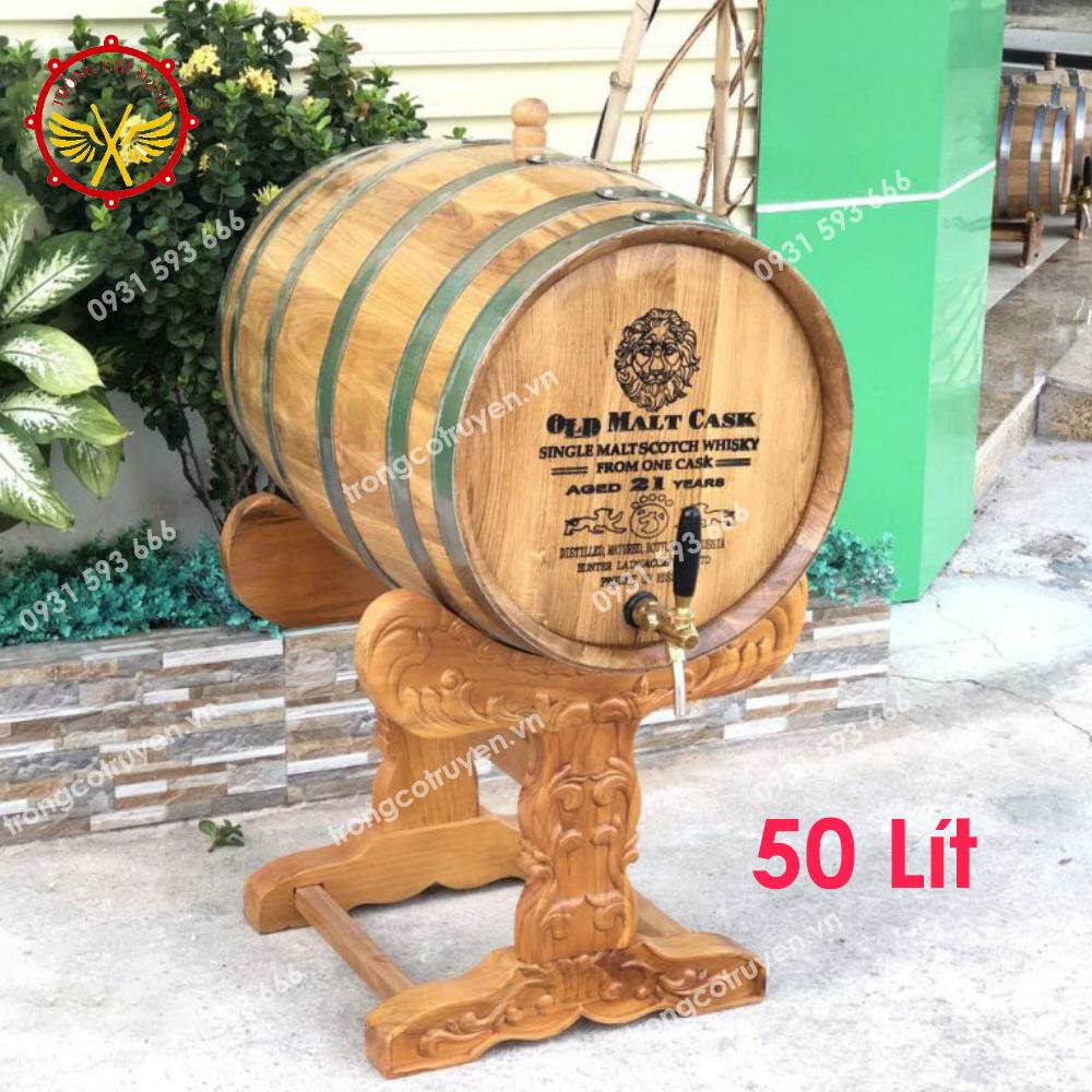 Thùng Ngâm Rượu Gỗ Sồi 50L Chân Trạm Đục