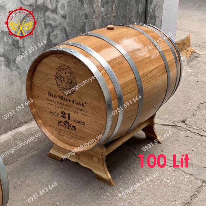 Thùng Ngâm Rượu Gỗ Sồi 100L Dáng Nằm