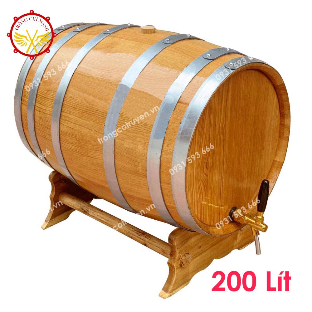 Thùng Ngâm Rượu Gỗ Sồi 200L Dáng Nằm