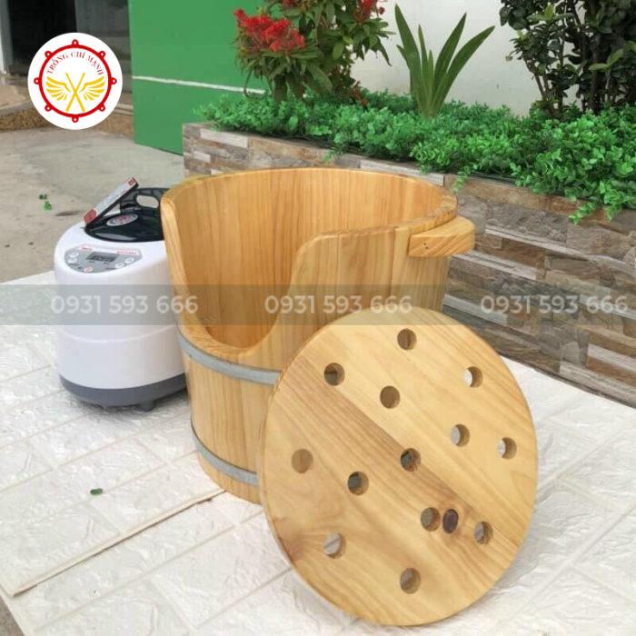 Thùng gỗ xông đầu dưỡng sinh kèm máy xông giá rẻ